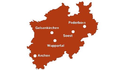 Karte der Digitalen Modellregionen NRW